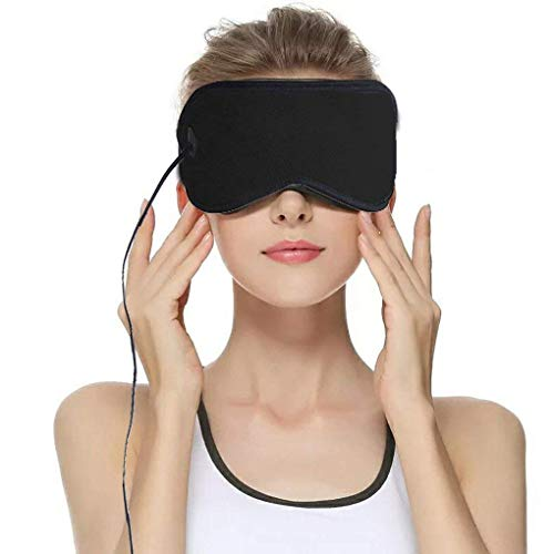 Heated Eye Mask, USB Sleep Mask with Adjustable Temperature and Time Control, 3 Temperatures Control with 6.2 ft USB Cable,Warm Massage to Relieve Dry Eye Syndrome, Eye Stress, Tired Eyes, with Dark