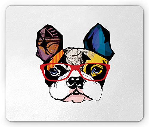 Printawe Art Mouse Pad, French Bulldog Portrait with Hipster Glasses Abstract Modern Colorful Ears and Eyes, Rectangle Non-Slip Rubber Mousepad, Standard Size, Yellow Ruby