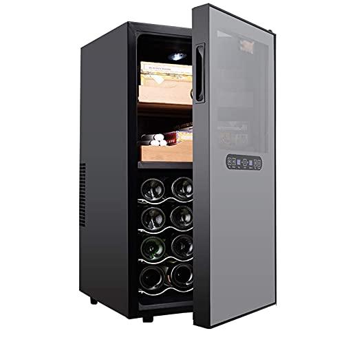 NC Armadietto per sigari in Acciaio Inossidabile di Controllo, cantinetta e Frigorifero per Vino incorporati, Controllo Touch, Display Digitale per Temperatura/umidità, Nero LKWK