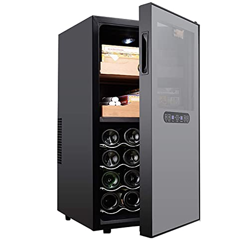 N\C Control Gabinete de cigarros de Acero Inoxidable, Enfriador de Vino y refrigerador Incorporado, Control táctil, Pantalla Digital de Temperatura/Humedad, Negro LKWK