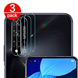 [3 Pack] Cristal Templado para Lente Cámara de Huawei Nova 5T/ Honor 20, Ultra Fino Protector 2.5D 9H de Dureza Cámara Trasera Lente Película de Pantalla