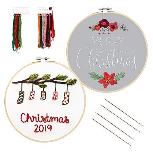 Souarts borduurset, trommel om te borduren, borduren, cirkel om te boren, gekleurde stof, kerstmotief, voor beginners, knutselen, decoratie