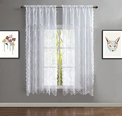 """WARM HOME DESIGNS Pair of 2 White Color Short Length 54"""" (W) x 63"""" (L) Semi Sheer Lace Curtain Panels & Attached Matching Valances with 6 Tassels. Classic Elegant English Rose Pattern. L White 63"""""""