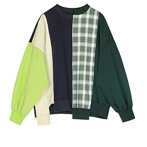 Sweatshirt Sweater Loose Fit Plaid Stitch Oversized Sweatshirt New Round Neck Long Sleeve Women Big Size Fashion Tide S Green