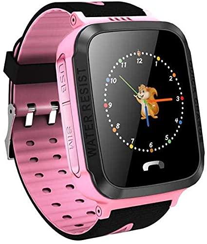 YOOBB Pulsera Inteligente, Teléfono Inteligente Teléfono Anti Perdido Niño GPS Rastreador Sos Posicionamiento Seguimiento Teléfono Inteligente GPS Reloj GPS(Size:6CM*6CM*12CM,Color:Pink)