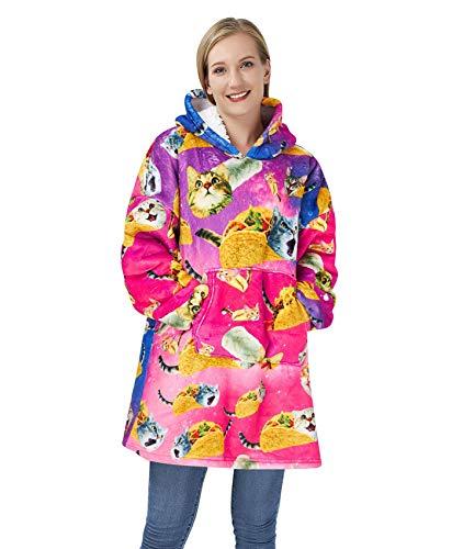 Goodstoworld Übergroße Decke Sweatshirt 3D Hoodie Blanket Pizza Katze Druck Decke Kapuzenpullover Frauen Herren Mädchen Teens Pullover Sweater
