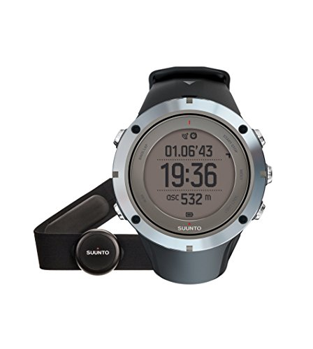 Suunto Ambit3 Peak Sapphire HR - SS020673000 - Reloj GPS Multideporte + Cinturón de Frecuencia Cardiaca (Talla M) - Sumergible 100 m - Negro y gris - Cristal Zafiro