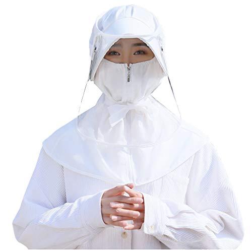ErYao Women Face Guard Waterproof PVC Face Sheild Hat Face Protective Sheild Visor Balaclavas (White)