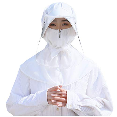 ErYao Women Face Guard Waterproof PVC Face Sheild Hat Face Protective Sheild Visor Balaclavas (White)