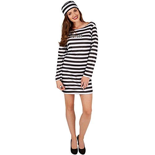 TecTake dressforfun Disfraz para Mujer de Presa | Vestido Corto Muy Bonito | Diseño típico a Rayas | Incl. Sombrero (M | no. 301430)