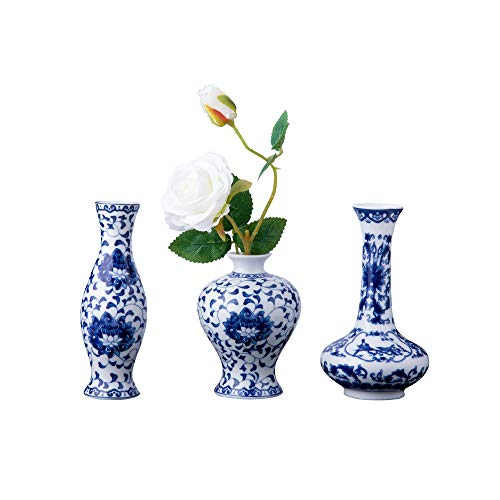 Nother Klassische blaue und weiße Porzellanvasen Set, Art Fambe Glasur Porzellanvasen Set, Set von 3 kleinen Keramik-Blumenvasen für Heimdekoration, chinesische Vasen (blau und weiß Porzellan)