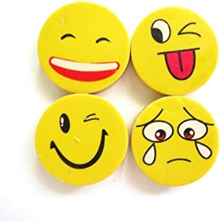 Yellow Funny Smiling Face Erasers Set (1 Dz)
