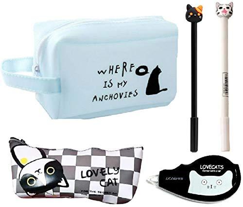 猫づくし文具5点セット 大容量猫ペンケース ポーチ シリコン素材で防水効果 ボールペン 修正テープ 化粧ポーチ (水色)
