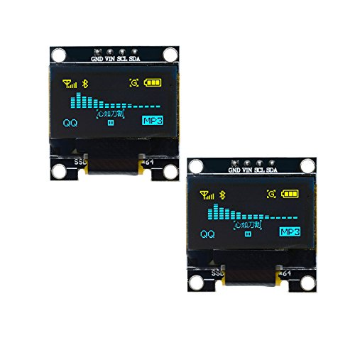 Diymore I2C IIC - Módulo de pantalla LED para Arduino Raspberry PI 51 MSP430 STM32 SCR (0,96 pulgadas, 128 64, 128 x 64), 2 unidades amarillo y azul., 1