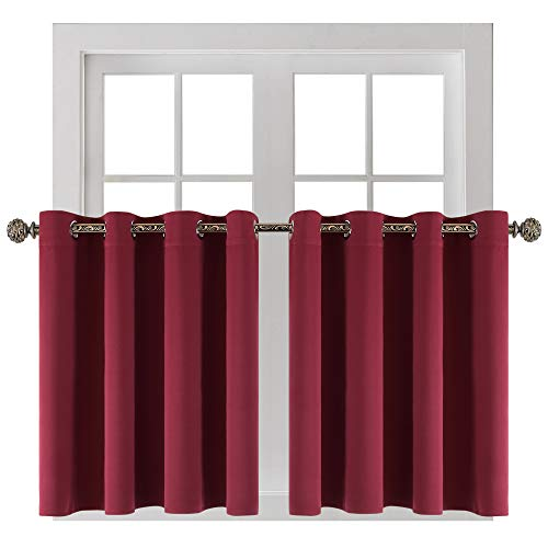 YGO Home Decor Tiers Curtains Window Draperies Thermal Insulated Room Darkening Blackout Curtain Panels for Bedroom and Kitchen 52 x 36 in Wine Red Double Pieces