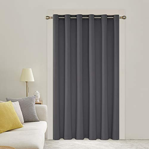 Deconovo Blackout Curtains 1 Panel Wide Width Curtain Room Darkening Shades Thermal Insulared Blinds Room Divider Curtain for Bedroom 80W x 84L Inch Dark Grey 1 Drape