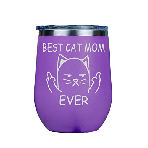 'IT''S A SKIN' Best Cat Mom Ever - Stainless Steel Stemless Wine Insulated Tumbler with Clear lid 12oz Red or White Great Gift for Her, Him Travel Includes Free Wine/Food Pairing Card - Purple