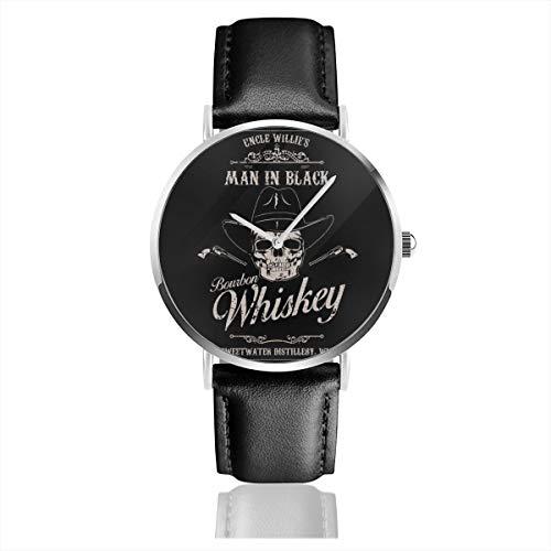Westworld Unisex Business Casual Man in Schwarz Bourbon Whiskey Quarzuhr Leder Armbanduhr mit schwarzem Lederband für Herren Damen Young Collection Geschenk