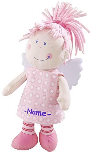 Kinderhaus Blaubär HABA Stoffpuppe Schutzengel mit Namen Bestickt, weiche Baby Puppe, Kuschelpuppe ab 0 Jahr individuelles Taufgeschenk, erste Spielpuppe, Design:Tine