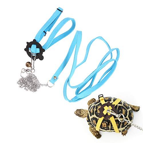 POPETPOP Schildkröten-Geschirr und Leine, Schildkröten-Motiv, verstellbar, für Haustiere, Schildkröten-Design, Größe S (schwarz)