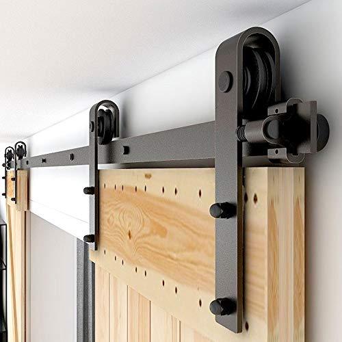CCJH 320CM/10.5FT Puerta de granero corredera estilo rústico puerta de granero corredera de madera para armario puerta granero herraje colgadocon guía rodamientos deslizantes, para puerta doble