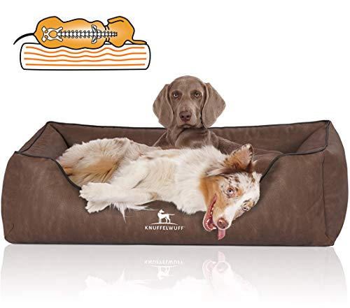 Knuffelwuff Orthopädisches Hundebett Rockland aus Kunstleder XXL 120 x 85cm Braun