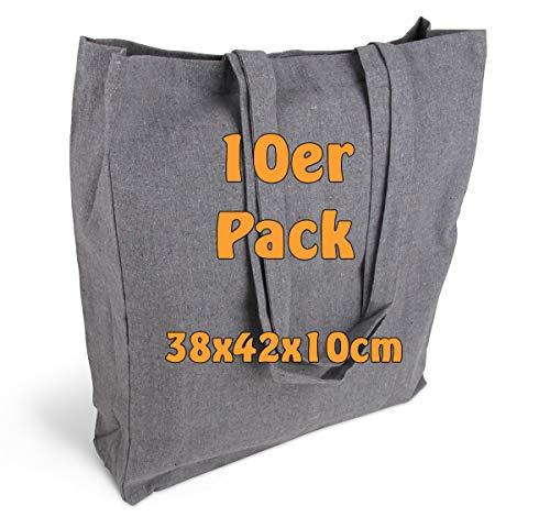 Cottonbagjoe Einkaufstasche | unbedruckt | Seiten-&Bodenfalte | Langen Henkeln | Jutebeutel (Recycle, 10 Stück)