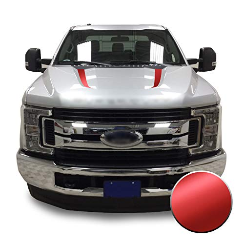 Optix Hood Spears Stripes Vinyl Decal Overlay Wrap Trim Inserts Sticker Compatible with and Fits Super Duty F250 F350 F450 2017 2018 2019 - Metallic Matte Chrome Red