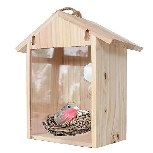 YongZhiFang Fågelbo låda – fönstermonterad, sugkopp, väderbeständig, trähus massivt utomhus fågelholk foder villa trädgård fönsterdekoration med kopp fågel (ingår ej)