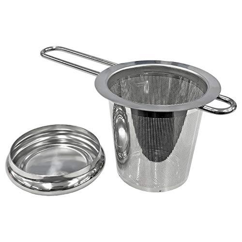 コモライフ ステンレス製の茶こし 茶漉し マグカップ コップ用 急須不要 細かい 細目 お手入れ簡単 劣化しにくい フタ付き サイズ/約14.7×7.4×7.3cm シルバー 390169