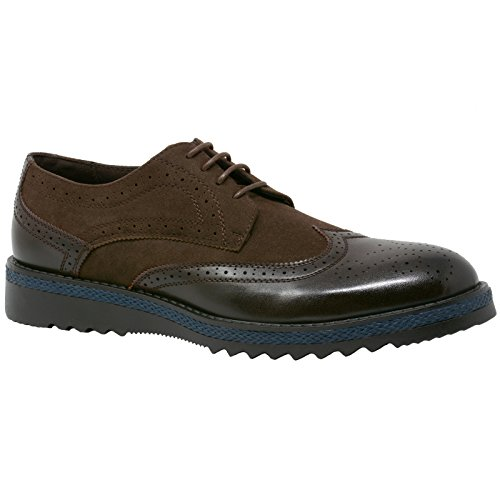 Alpine Swiss ALEC Mens Wingtip Dress Shoes Leather Lined Ripple Sole Brown SZ 13