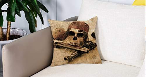 Square Soft and Cozy Pillow Covers,Pirata, calavera pirata con pañuelo en la cabeza y pistolas en la playa Pantalla Grunge Peligro,Funda para Decorar Sofá Dormitorio Decoración Funda de almohada.