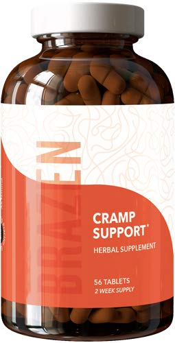 Brazen Cramp Support Supplements: Relief for Menstrual Period Pain Including Premenstrual Cramps, Backache, Headache — All Natural, Research Backed, Made in The USA, cGMP Tablets — Single Cycle Pack