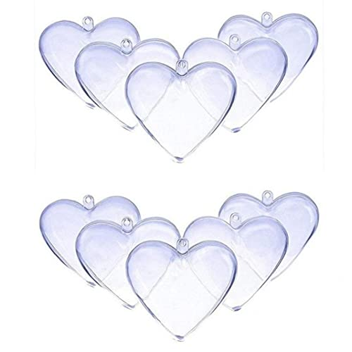 TOSSPER 10pcs Acrylic Heart Shaped Fillable Ball Clear Christmas Trees Hanging Ornament Gift Box Decoration