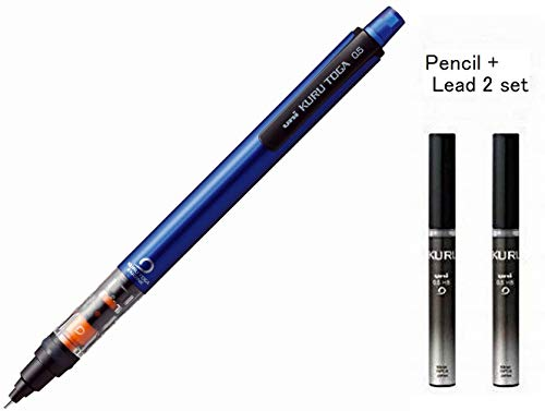 Uni Mechanical Pencil Kurutoga Pipe Slide Model 0.5mm Blue Body (M54521P.33) + Lead 2 set (U05203HB.24)