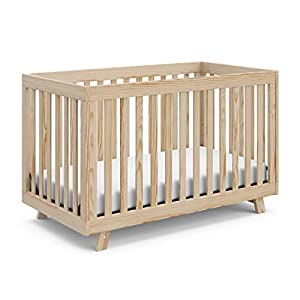 Stork Craft Beckett 3-in-1 Convertible Crib, Natural, Fixed Side Crib, Solid Pine and Wood Product Construction, Converts to Toddler Bed or Day Bed (Mattress Not Included), Full, 64.2 pounds