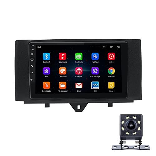 LWYJ 9 Pulgadas Radio De Coche para Benz Smart 2011-2015, Android 10 Versión, FM Radio Coche Bluetooth con WiFi/Navegación GPS, 1080P HD IPS Sistema Multimedia Pantalla Táctil,4+64G