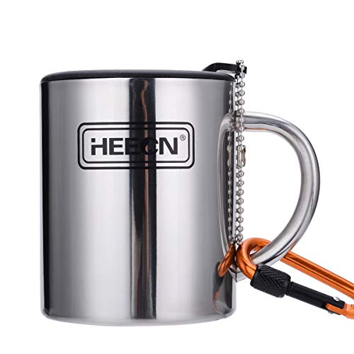 HEECN Camping Becher Mit Deckel und Karabiner Outdoor Tasse Doppelwandige Kaffeebecher Isolierbecher BPA-frei 220ml 300ml 450ml HESS-038BBK 260ml Mit Versiegeltem Deckel