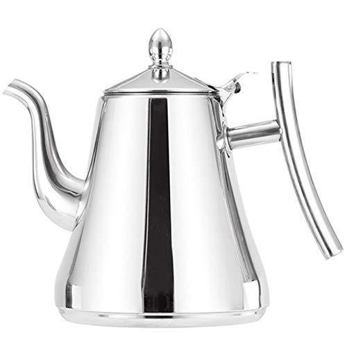 SODIAL 1,5 L Edelstahl Tee Kanne Kaffee Kanne mit Filter Wasser Kocher Haus Hotel Bar Restaurant Edelstahl Wasser Kocher Topf Induktions Herd Wasser Kocher Silber