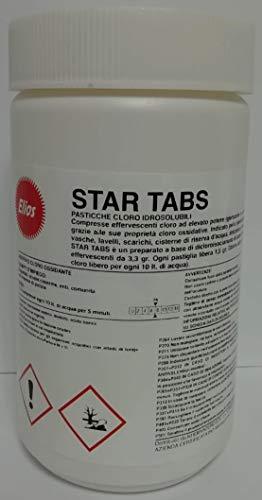 Elios - STAR TABS compresse effervescenti cloro ad elevato potere igienizzante e a rapida azione. Indicato per la igienizzazione di wc, vasche, lavelli, scarichi, cisterne di riserva d'acqua, attrezzature, mops, ecc. kg.1 - pasticche cloro da 3,3 gr.
