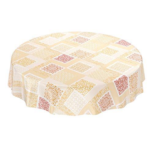 ANRO wasdoek tafelkleed wasdoek wastafelkleed afwasbaar patchwork shabby oranje beige rond 120cm