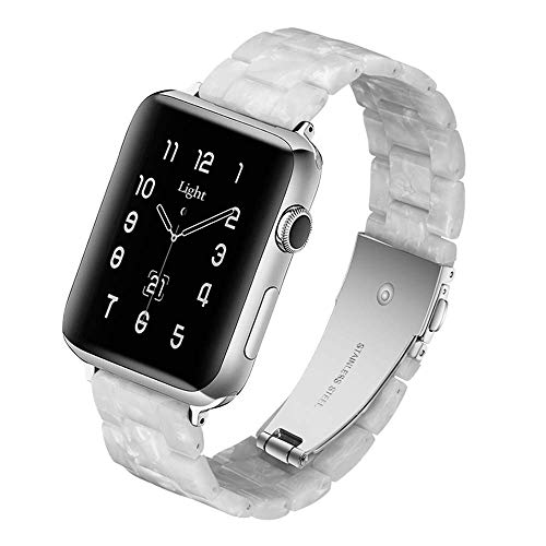 Light Apple Watch Band - Fashion Resin iWatch Band Compatible with Stainless Steel Buckle for Apple Watch Series 6 Series SE Series 5 Series 4 Series 3 Series 2 Series1 (Pearl White, 38mm/40mm)