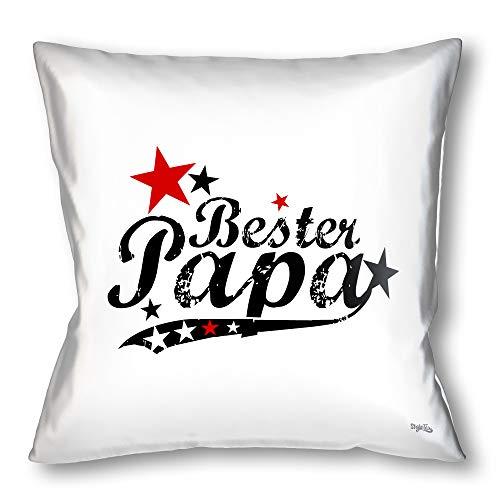 Stylotex Kissen - Geschenk für den besten Papa Dekokissen Bedruckt in höchster Druckqualität Designed in Deutschland - Bester Papa (vintagestyle)