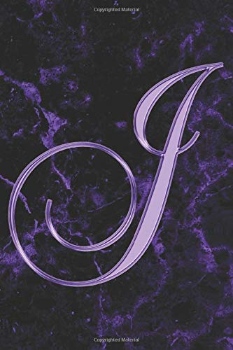 J Journal: A Monogrammed J Initial Capital Letter Notebook For Writing And Notes: Great Personalized Gift For All First, Middle, Or Last Names (Purple Gold Watercolor Black Marble Granite Veins Print)