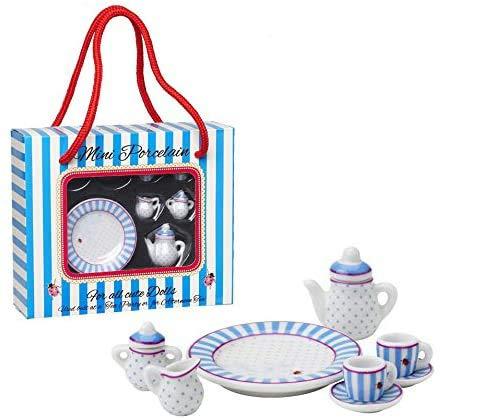 Lisbeth Dahl Mini-Porzellan-Set, 8. teilig, Kanne, Zuckerbehälter, Milchkanne, 2x Tassen, 2x Untertassen, Puppenhaus, Puppengeschirr …
