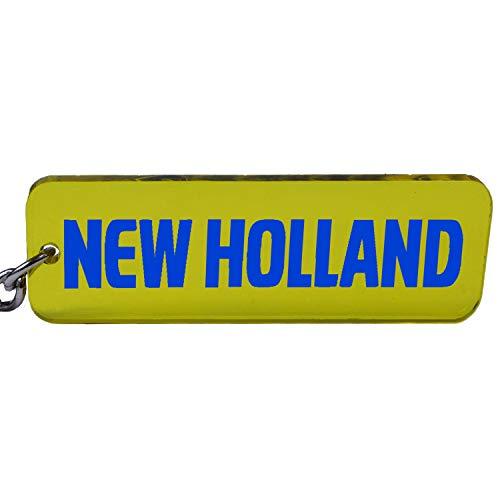 New Holland Trecker Tractor sleutelhanger embleem in blauw/geel