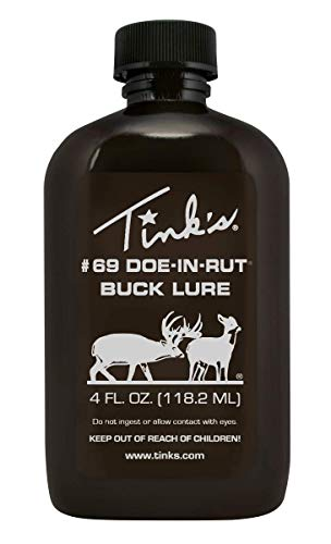 TINK'S #69 Doe-in-Rut Buck Lure | 4 Fl Oz Bottle | 100% Natural Deer Urine | Deer Hunting Accessories, Deer Attractant, Buck Hunting Scent | Easy to Use Squirt Top