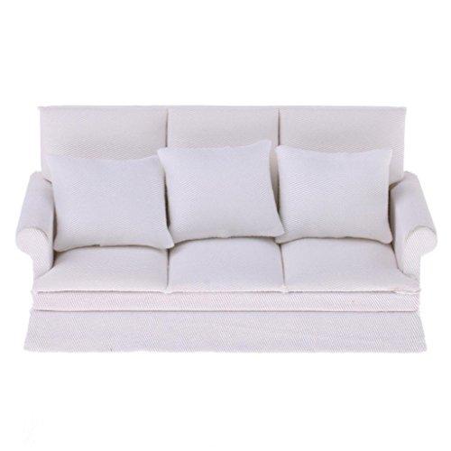SODIAL Muebles de casa de munecas en Miniatura 1:12 Juego de Almohada Sofa Divan Tres plazas Blanco