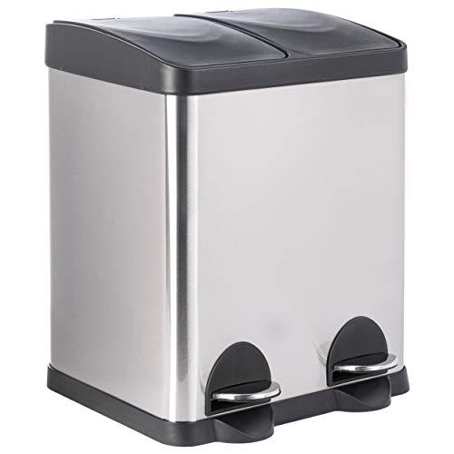 ONVAYA® Doppel Tretmülleimer Leo Edelstahl | 30L Mülltrennsystem für die Küche | Duo Abfalleimer in Silber & schwarz | Müllbehälter 2X 15L