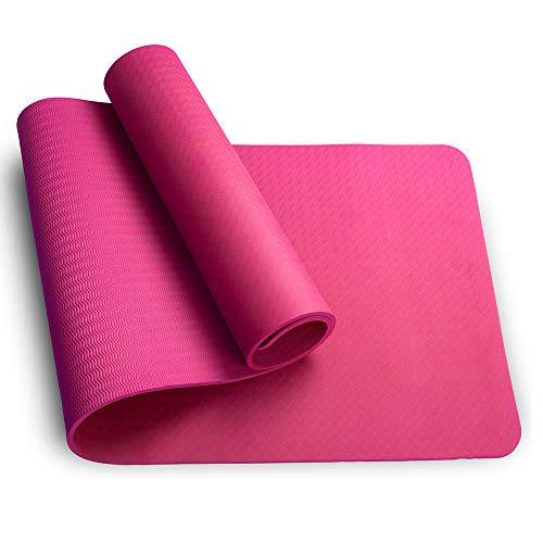 Sosila TPE Yogamatte, ECO Gymnastik Matte, rutschfest, umweltfreundlich, hypoallergen und hautfreundlich, ideal für Yoga, Pilates und Fitness, mit Tasche und Trageband, 183 x 61 x 0,8 cm (Pink)